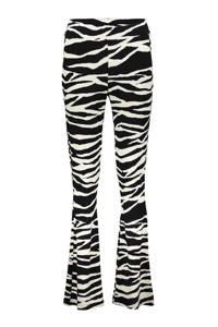 Geisha flared broek met all over print zwart/wit, Zwart/wit