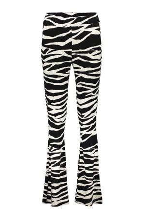 flared broek met all over print zwart/wit