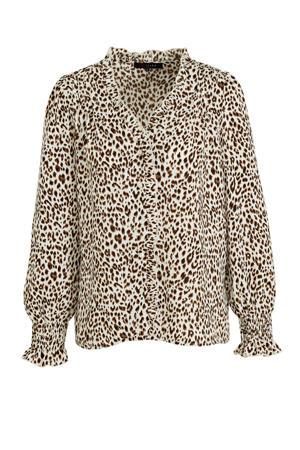 blouse met dierenprint ecru