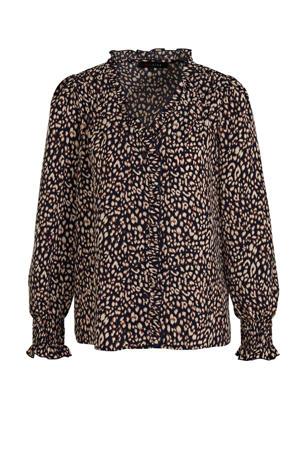 blouse met dierenprint donkerblauw