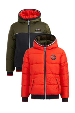 reversible winterjas army groen/neon oranje