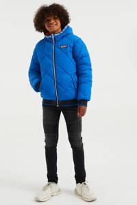 WE Fashion reversible gewatteerde winterjas blauw/rood/wit, Blauw/rood/wit