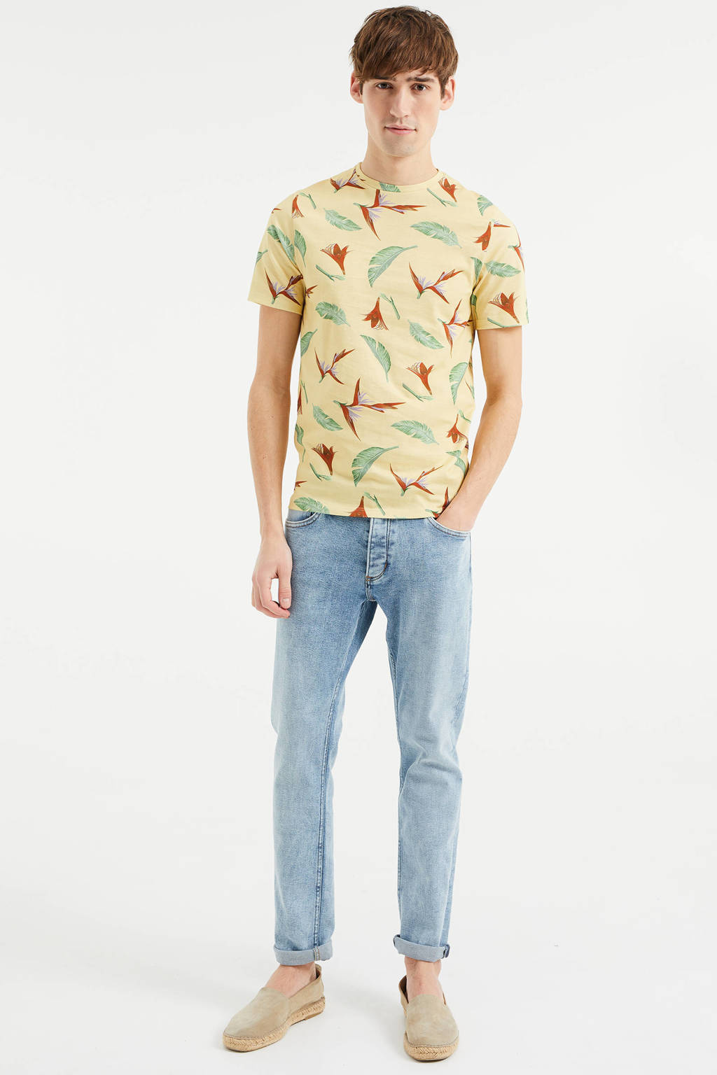 WE Fashion T-shirt met all over print geel, Faded Sun