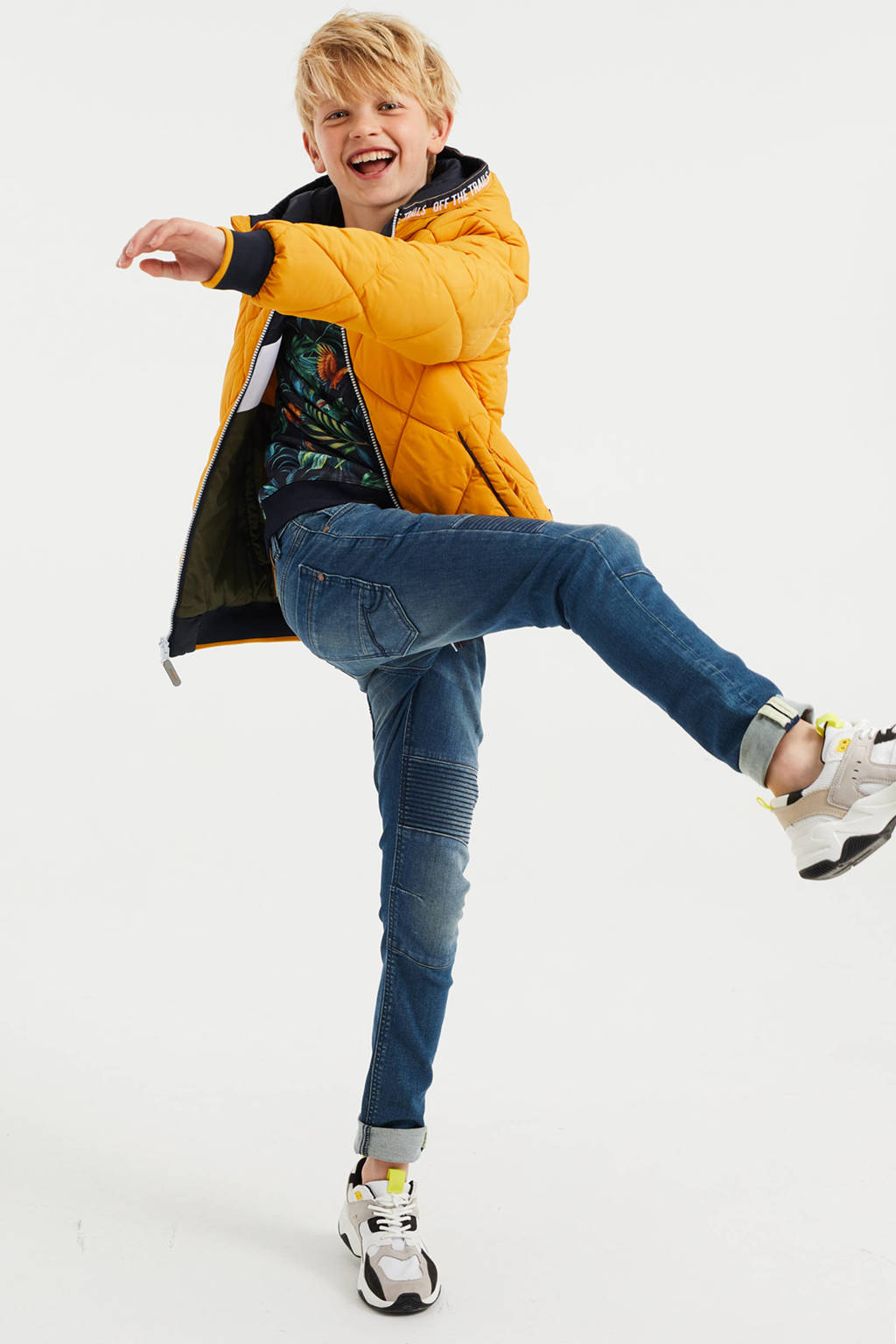 WE Fashion reversible winterjas geel/donkerblauw/groen, Geel/donkerblauw/groen