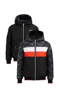WE Fashion reversible gewatteerde winterjas zwart/grijs/rood/wit, Zwart/grijs/rood/wit