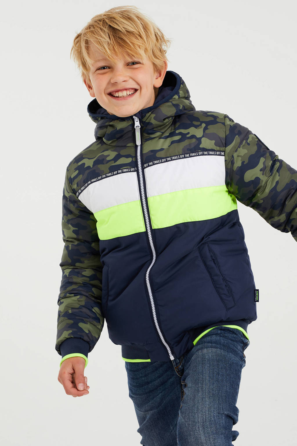WE Fashion reversible gewatteerde winterjas donkerblauw/groen/wit/geel, Donkerblauw/groen/wit/geel