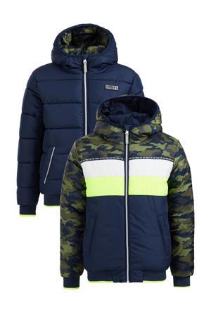 reversible gewatteerde winterjas donkerblauw/groen/wit/geel