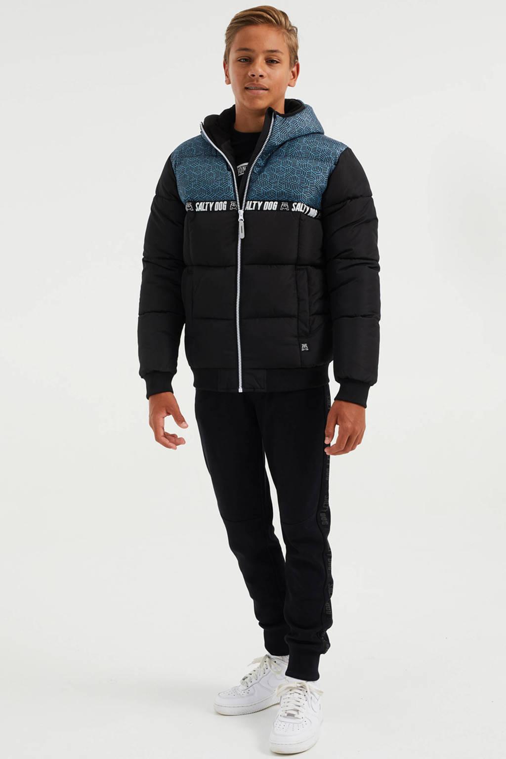 WE Fashion Salty Dog gewatteerde winterjas van gerecycled polyester zwart/blauw, Zwart/blauw