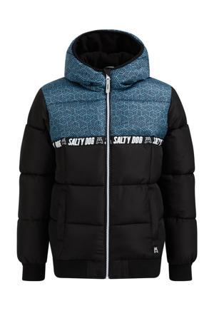 gewatteerde winterjas van gerecycled polyester zwart/blauw