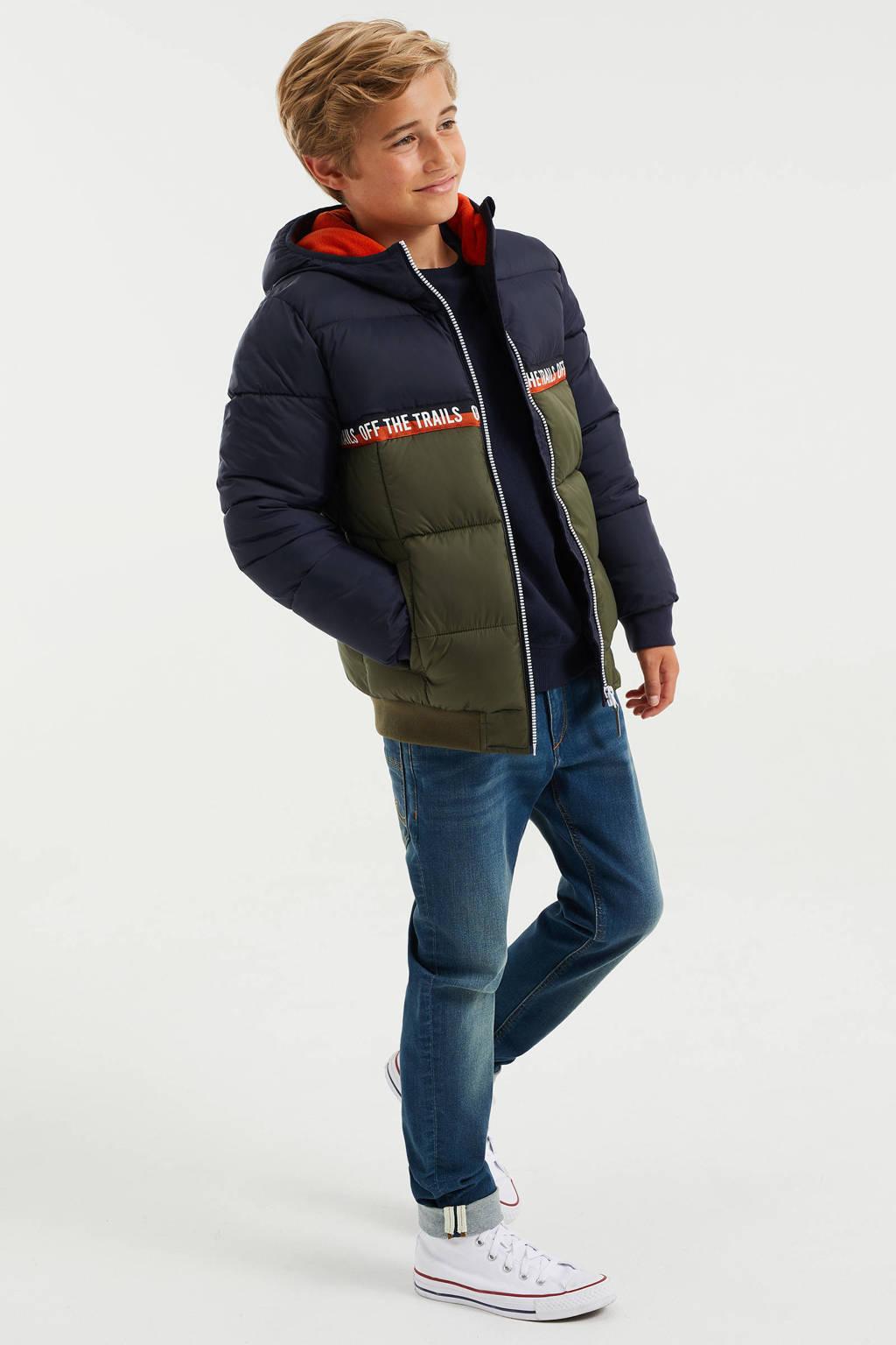 WE Fashion winterjas donkerblauw/donkergroen/donkeroranje, Donkerblauw/donkergroen/donkeroranje
