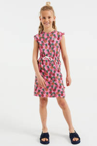 WE Fashion regular fit jurk met een all over print roze/geel/groen, Roze/geel/groen