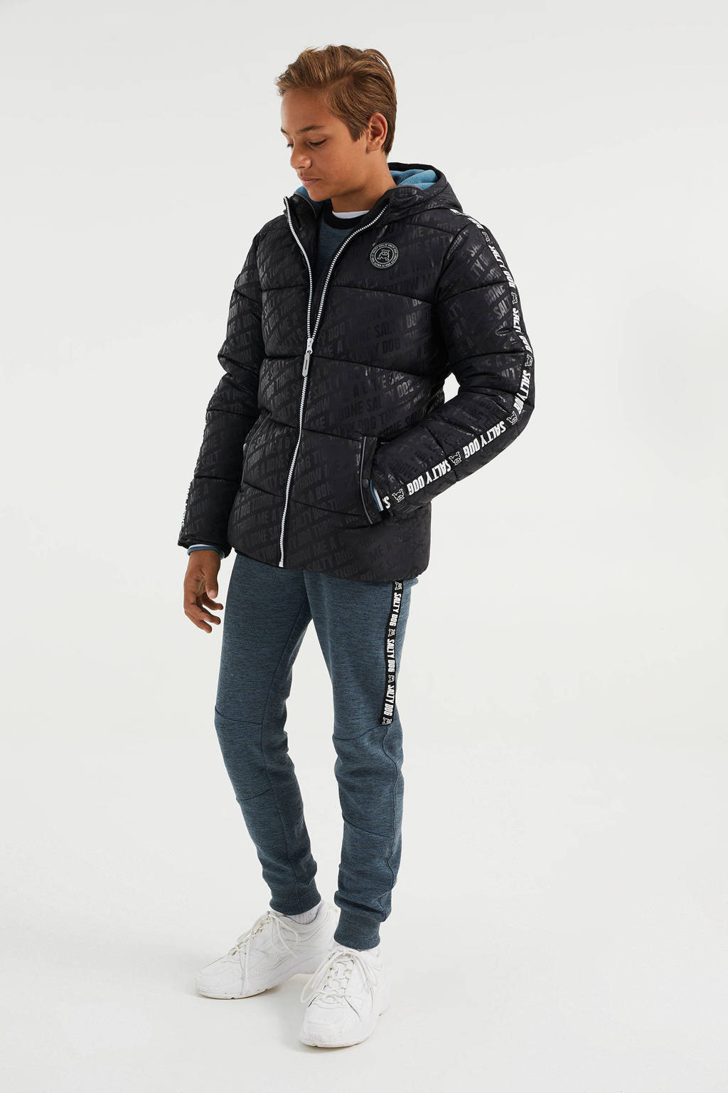 WE Fashion Salty Dog gewatteerde winterjas met contrastbies zwart, Zwart