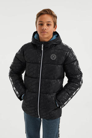 gewatteerde winterjas met contrastbies zwart