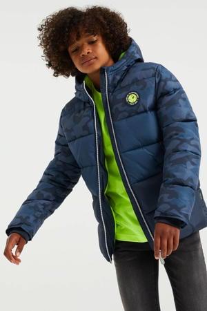 gewatteerde winterjas van gerecycled polyester blauw