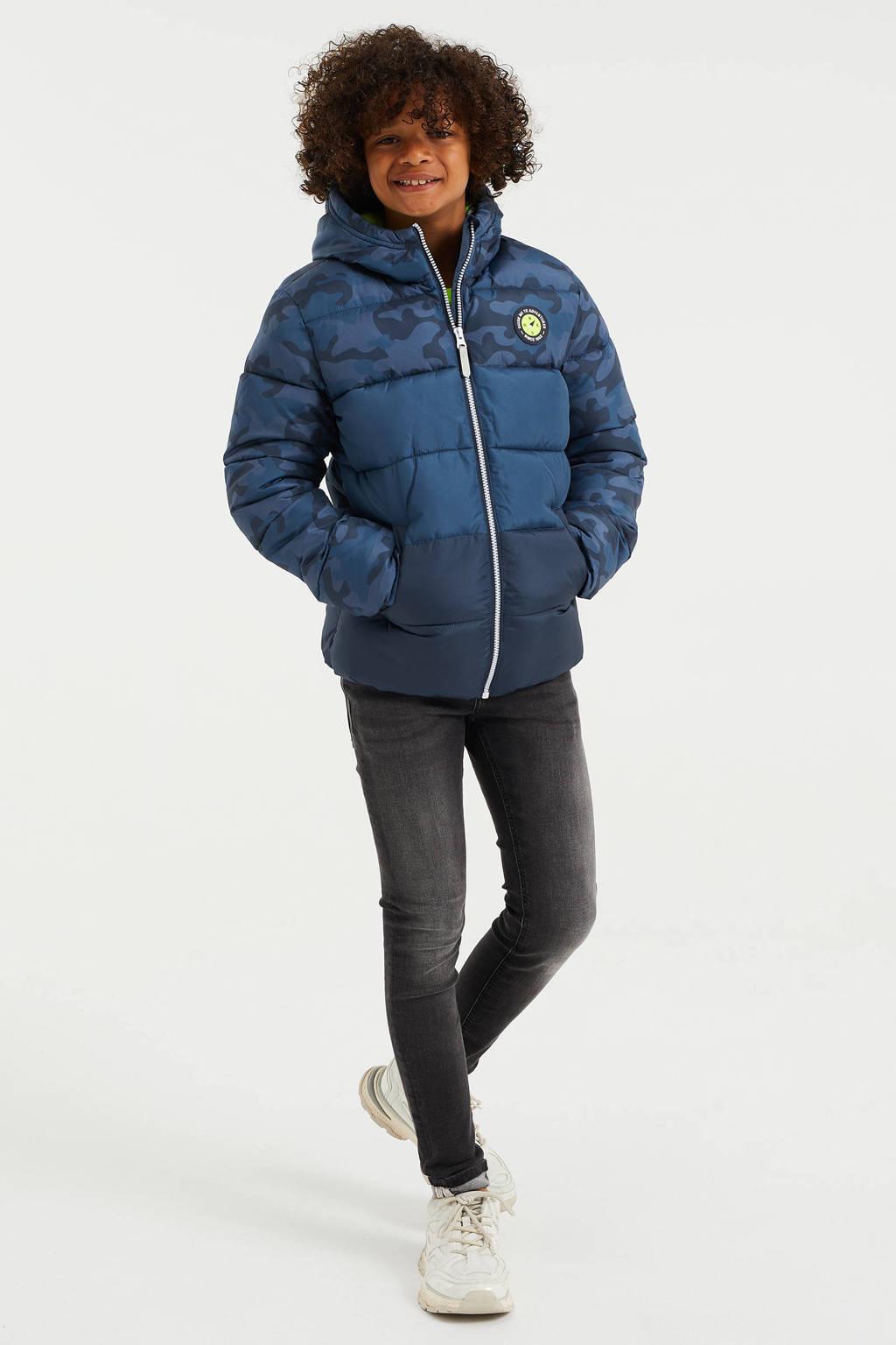 WE Fashion gewatteerde winterjas van gerecycled polyester blauw, Blauw