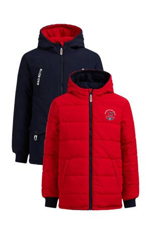 reversible winterjas rood/donkerblauw
