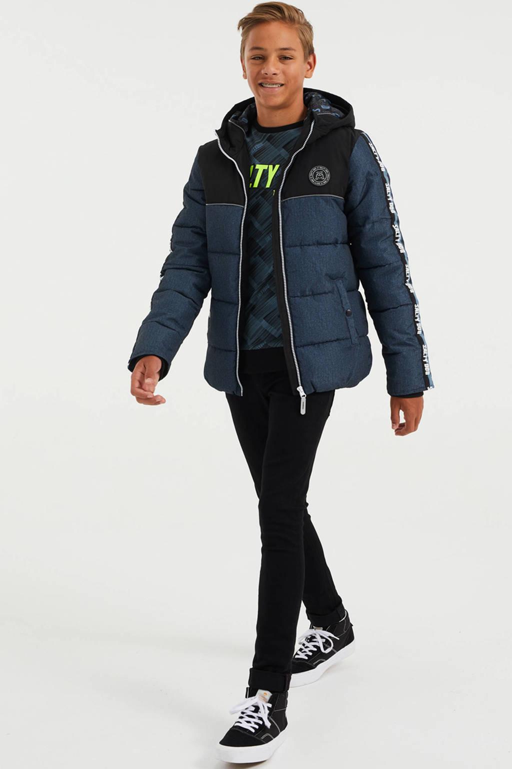 WE Fashion Salty Dog gewatteerde winterjas zwart/petrol, Zwart/petrol