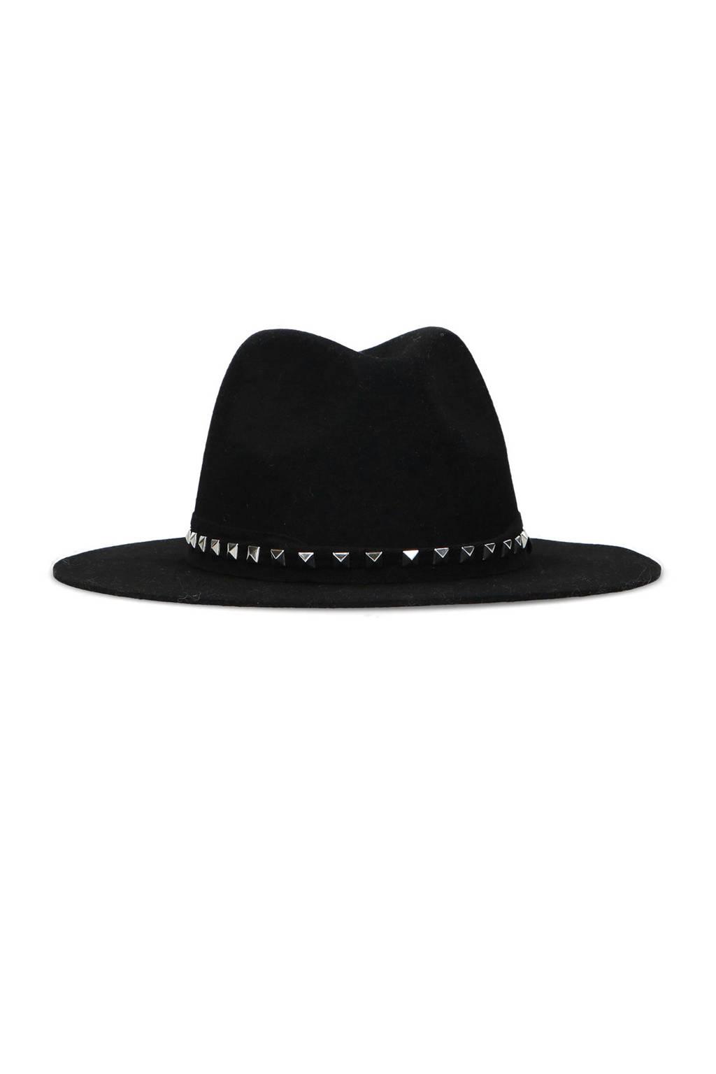 Sacha hoed met studs zwart, Wol