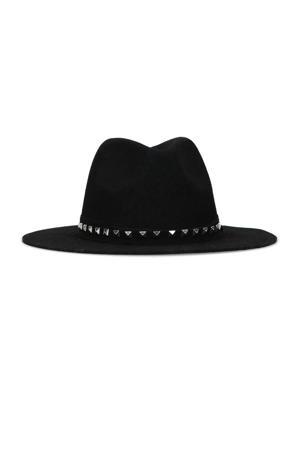 hoed met studs zwart