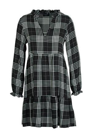 geruite A-lijn jurk zwart