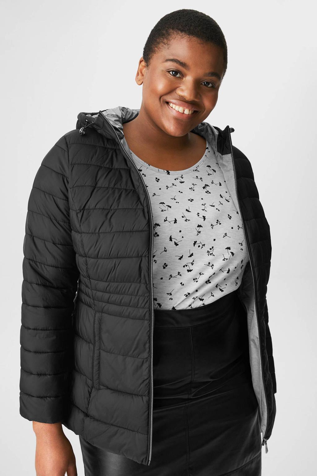 C&A XL Yessica gewatteerde jas zwart, Zwart