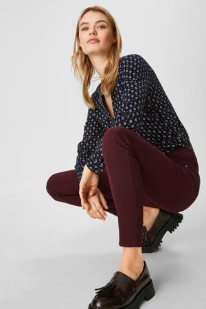 high waist skinny jeans aubergine