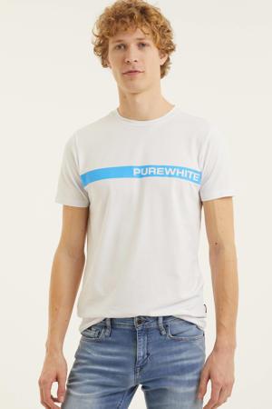 T-shirt met logo wit/lichtblauw