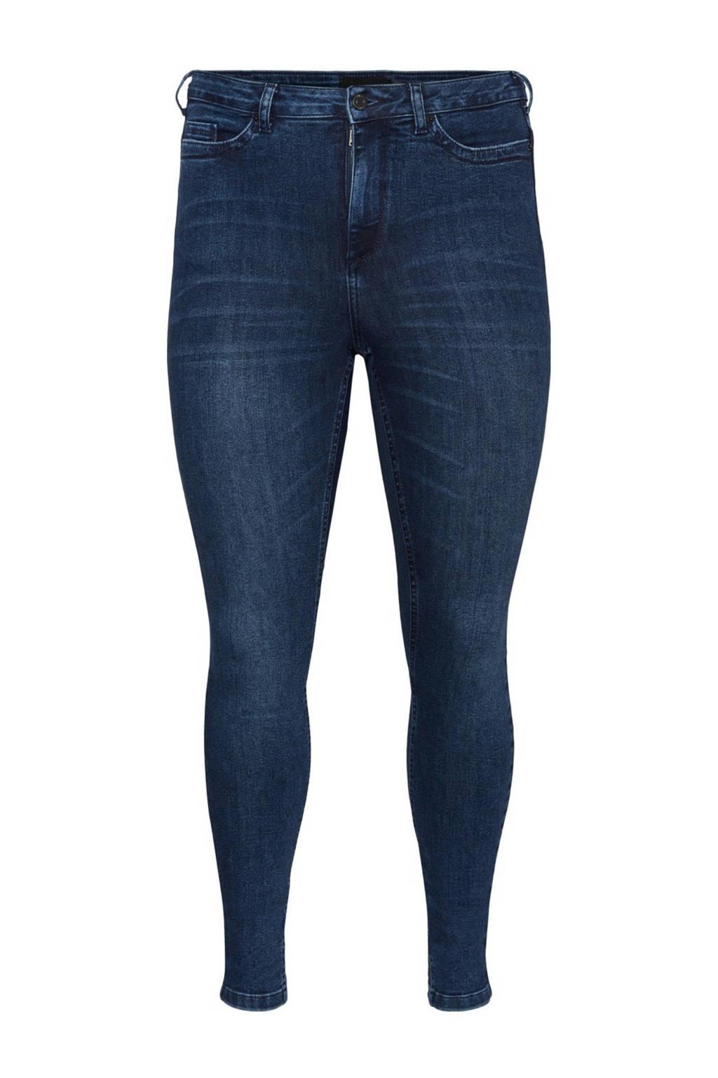 VERO MODA CURVE high waist skinny jeans VMLORAEMILIE donkerblauw, Donkerblauw