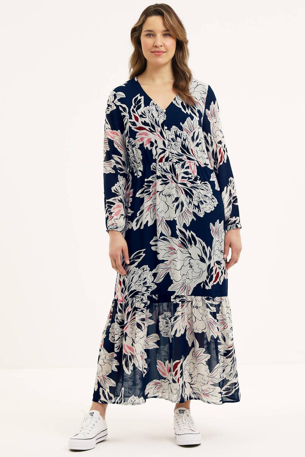 VERO MODA CURVE maxi jurk VMMANKI met all over print donkerblauw, Donkerblauw