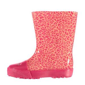 regenlaarzen met panterprint roze