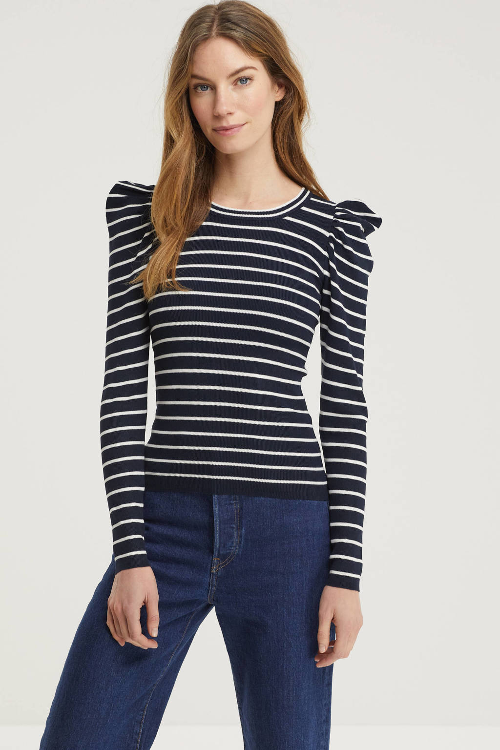 JACQUELINE DE YONG gestreepte trui donkerblauw/wit, Donkerblauw/wit