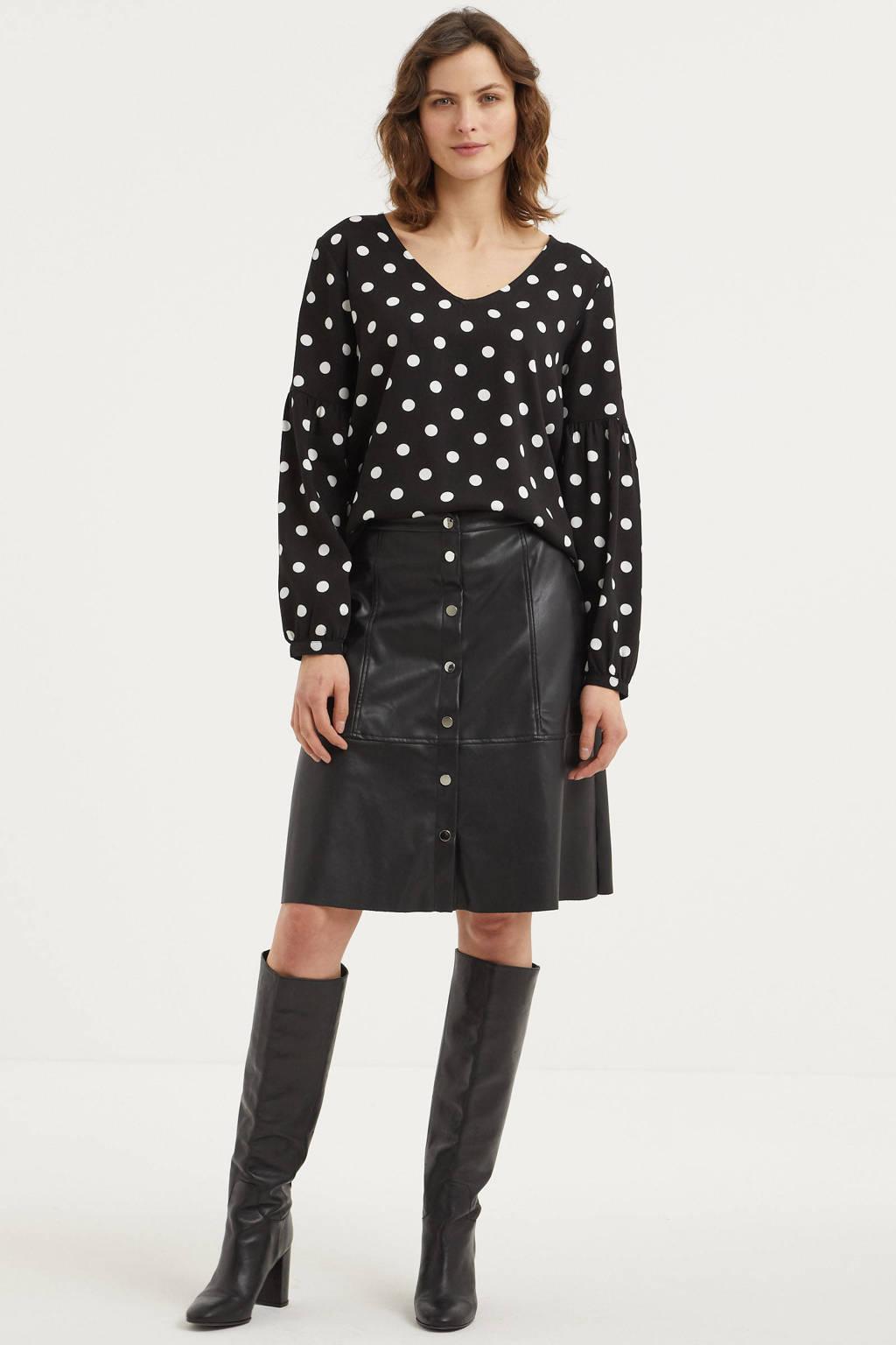 JACQUELINE DE YONG blouse met stippen zwart, Zwart