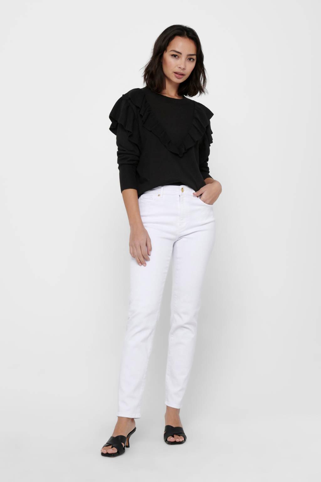 JACQUELINE DE YONG trui met ruches zwart, Zwart
