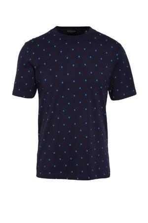 T-shirt met stippen donkerblauw