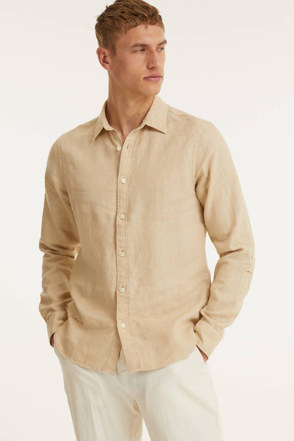 Scotch & Soda regular fit overhemd beige, Beige