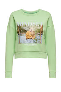 ONLY sweater ALMA met printopdruk groen, Groen