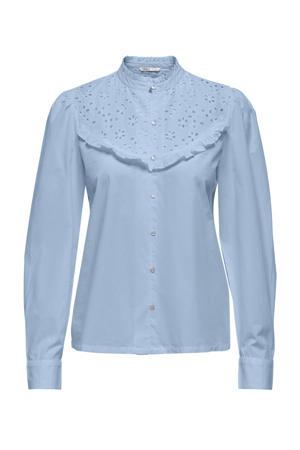 blouse met ruches lichtblauw