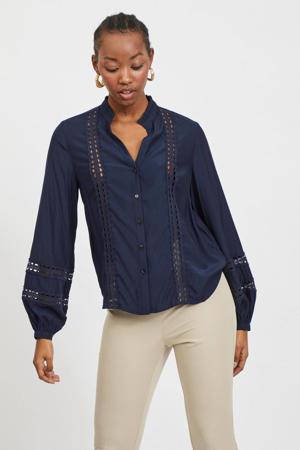 blouse VIMOCAMIL met open detail donkerblauw