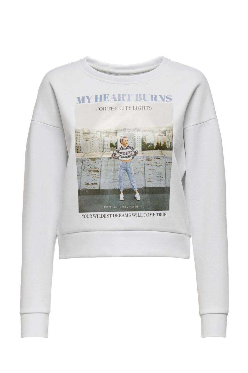 ONLY sweater ALMA met printopdruk wit, Wit