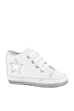 leren babyschoenen wit/zilver