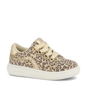 sneakers met panterprint ecru/goud
