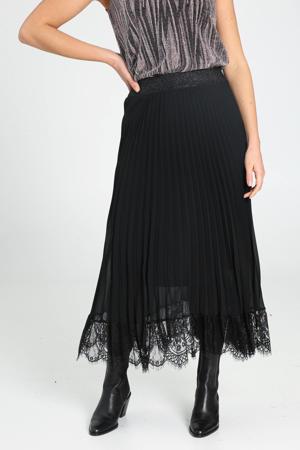 semi-transparante rok met kant zwart