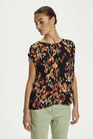 top Zaya met all over print zwart
