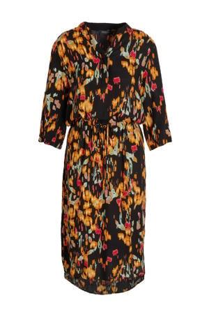 blousejurk Zaya met all over print zwart/oranje/rood