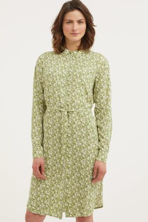 gebloemde blousejurk Joanna lichtgroen