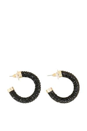 oorbellen met strass MJ04265 zwart/goudkleurig