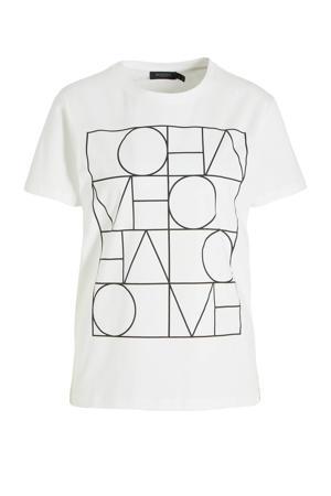 T-shirt Anneke van biologisch katoen wit/zwart