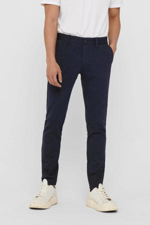 tapered fit chino Mark donkerblauw melange