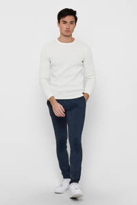 ONLY & SONS gestreepte tapered fit chino Mark blauw, Blauw