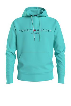 hoodie met logo aqua